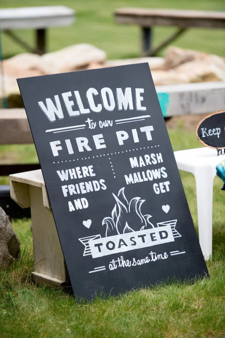 fire pit sign wedding