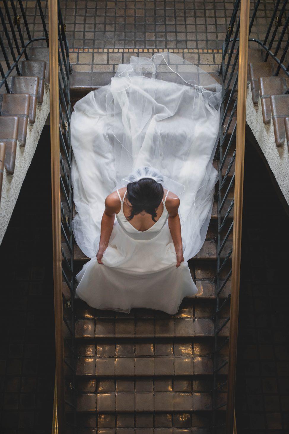 Bride Going Down Wedding Dress